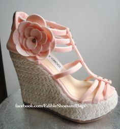 "Marie Antoinette said it best. ""Let them eat cake!"" Jimmy Choo sandal cake by Yans Cakes. Let's hear from you if you happen to be a cake designer! (for shoes & bags) We want to share your craft with the world! And don't forget to join our cake page on Facebook!  http://www.facebook.com/EdibleShoesandBags?ref=stream"