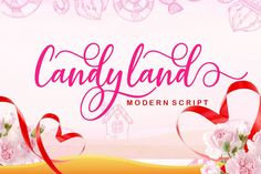 Candyland is an incredibly stunning script font with bold swashes. Fall in love with is modern elegance! Handwritten Fonts, Typography Fonts, All Fonts, Hand Lettering, Lettering Tutorial, Lettering Styles, Calligraphy Fonts, Christmas Fonts, Cricut Fonts