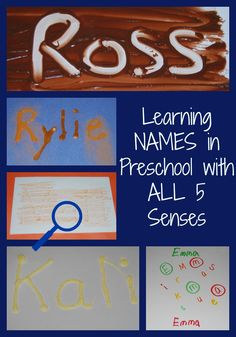 Names in Preschool with ALL 5 Senses! Come explore ways to PLAY with NAMES in Preschool! Learning about the letters in names using ALL 5 SENSES will promote important early learning skills!WAYS WAYS may refer to: Five Senses Preschool, 5 Senses Activities, My Five Senses, Preschool Names, All About Me Preschool, Name Activities, Preschool Learning Activities, Preschool Curriculum, Preschool Letters