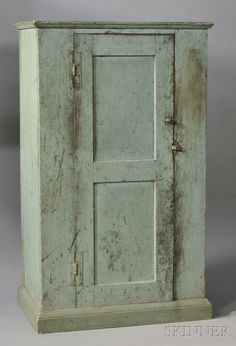Blue-Green-painted Pine Cupboard, New England, late 18th century