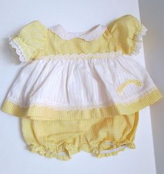 Coleco Vintage Cabbage Patch Doll Clothes Yellow Gingham Dress With Panties #ClothingAccessories