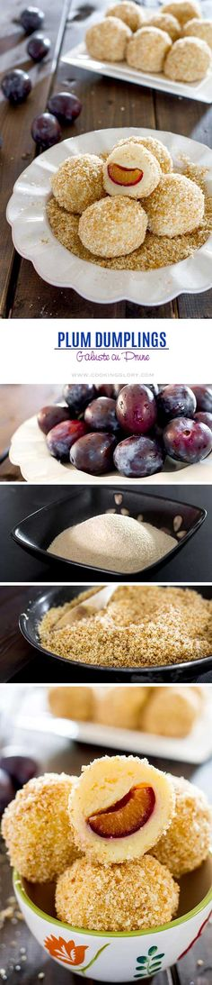 We first tried these in Austria, and they're one of my all-time favourites! // These plum dumplings are a traditional Romanian dessert made of fresh plums rolled into a soft potato dough, covered with a breadcrumb-sugar mixture. Romanian Desserts, Romanian Food, Romanian Recipes, Just Desserts, Delicious Desserts, Dessert Recipes, Yummy Food, Healthy Food, Hungarian Recipes