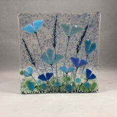 Fused Glass Ornaments, Fused Glass Art, Stained Glass, Glass Vase, Glass Flowers, Blue Flowers, Night Lights, Tea Lights, Glass Plaques