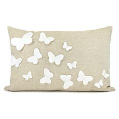 Growing butterflies pillow case - White felt butterfly appliques on natural beige canvas accent pillow cover - 12x18 pillow cover. $38.00, via Etsy.
