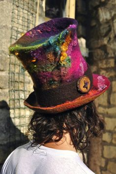 Rainbow Felt Top Hat - 'Mad Hatter' - hand felted & hand dyed wool - purple green pink blue multicolor - Handmade ARtWeAR - MADE to ORDER