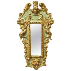 19th Century Italian Carved Neoclassical Silver Leaf Mirror (£685) ❤ liked on Polyvore featuring home, home decor, mirrors, wall mirrors, glass mirror, wing mirror, glass home decor, scroll mirror and glass wall mirror