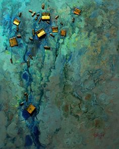 Sunken Treasure,  030815 by Carol Nelson mixed media ~ 30 inches x 24