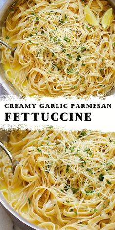 Fettuccine Recipes, Pasta Recipes, Cooking Recipes, Garlic Parmesan, Garlic Sauce, Easy Dinner Recipes, Easy Meals, Yummy Recipes, Pasta Dinners