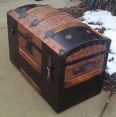 Metal Filigree Dome Top Antique Steamer Trunk