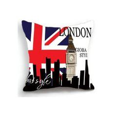 OJIA Retro Vintage London Big Ben Union Jack UK Home 18 X 18 Inch... ❤ liked on…