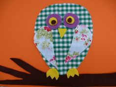 Fabric scrap collage - wise old owl image
