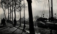 1940. River Amstel in Amsterdam. The river Amstel runs through the city and ends at the river IJ. The Amstel originally began where two smaller rivers, the Drecht and Kromme Mijdrecht, joined together, near town of Uithoorn. The well-known Magere Brug bridge in Amsterdam crosses the river, as do the Blauwbrug, Hoge Sluis and Berlagebrug bridges. #amsterdam #1950 #amstel