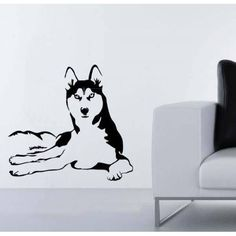 Husky Dog Vinyl Sticker Wall Art | Overstock.com Shopping - The Best Deals on Wall Murals