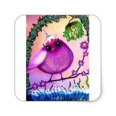 Bearmunk Stickers. Birdie Collection. Square Sticker - baby gifts child new born gift idea diy cyo special unique design