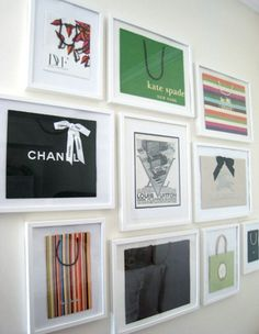 "fun idea to frame your ""designer"" shopping bags"