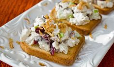 Turkey Salad Toasts | Trader Joe's 1 TJ's Fully Cooked Turkey Breast, chopped or shredded 1/4 c TJ's Pecan Pieces,1/4 c TJ's Dried Cranberries 1/4 c TJ's Mayonnaise,1/4 c TJ's Sour Cream 1 TJ's Granny Smith Apple, diced,S&P to taste TJ's Brioche Toast Mix all turkey salad ingredients Serve on brioche toasts with a sprinkle of french fried onions for extra crunch!