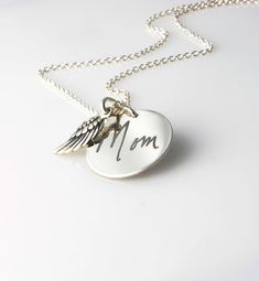 Actual handwriting engraved pendant & Angel wing charm  necklace in solid sterling silver - personalized memorial keepsake gift