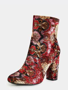 Online shopping for Vintage Inspired Patterned Ankle Booties MULTI from a great selection of women's fashion clothing & more at MakeMeChic. Vintage High Heels, Vintage Boots, Suede Booties, Ankle Booties, Heel Boots, Side Zip Boots, Suede Leather, Leather Boots, Floral
