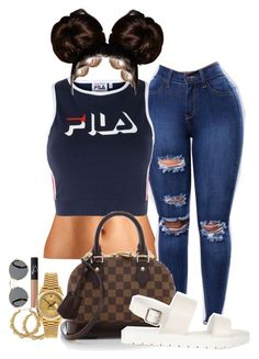 A fashion look from May 2017 featuring Fila tops, Louis Vuitton shoulder bags and Rolex watches. Browse and shop related looks. Swag Outfits, Dope Outfits, Trendy Outfits, Fall Outfits, Summer Outfits, Urban Fashion, Teen Fashion, Fashion Outfits, Fashion Women