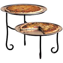 American Metalcraft Two-Tier Black Wrought Iron Pizza Stand
