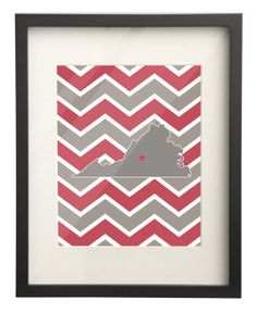 Lynchburg College Virginia State Map 8x10 Chevron Print $15.00 Use: PIN10 for 10% OFF!
