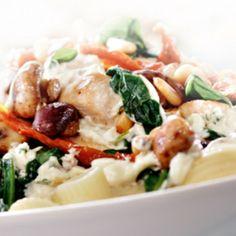 Pasta met kip, champignons en boursin