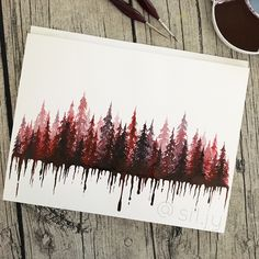 Bleeding pinetree forest. Watercolor painting. Aquarelle. Save the earth. Environmental art. Instagram @sil.jy