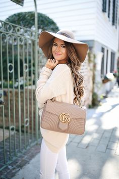 Brandy Melville sweater, similar HERE & HERE // similar hat Gucci Marmont handbag // Valentino sandals , similar HER...