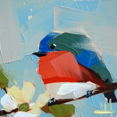 Missouri Bluebird original bird oil painting by Angela Moulton