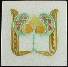 Antique English Art Nouveau Tile - Henry Richards