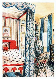Rendering by Mark  Hampton of the guest bedroom in the New York farmhouse of Keith and Chippy Irvine.