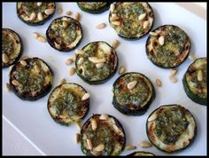 Grilled zucchini with pesto and pine nuts...ANTIPASTI - Proud Italian Cook