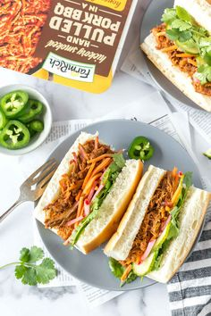 """🎼""""Ooooh child, things are gunna get meatier..."""" It's National BBQ Month and we're keeping it easy with BBQ Pork Banh Mi Sandwiches made in under 30 minutes (by Simply Whisked). #BBQ #FarmRich"""
