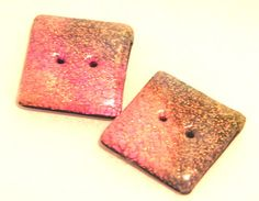 Faux #DICHROIC #Polymer #Clay Square #BUTTONS  Set of 2 by @KatersAcres, $4.00 #promofrenzy
