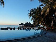 Medhufushi Island Resort: Pool- Sunset  // Travel Centre Maldives // www.tcmaldives.com // info@tcmaldives.com