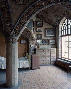 "bluepueblo: "" Victorian Bedroom, Mercer House, Doylestown, Pennsylvania photo via venus "" Cob House Interior, Home Interior Design, Interior Office, Modern Interior, Interior Photo, Attic Renovation, Attic Remodel, Mercer House, Victorian Bedroom"