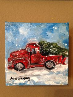 Original Christmas Painting Red Truck by AgnieszkasArt on Etsy