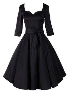Extraordinary Sweetheart Bowknot Falbala Plain Skater-dress