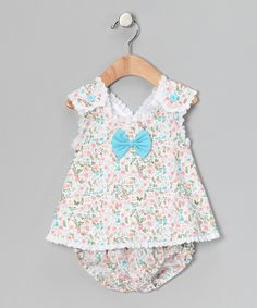 Aqua Floral Eyelet Top & Diaper Cover - Fantaisie Kids love love love got this for Harlow :)