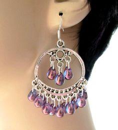 Purple Lustre Boho Chandelier Earrings Bohemian by SoleilGypsy