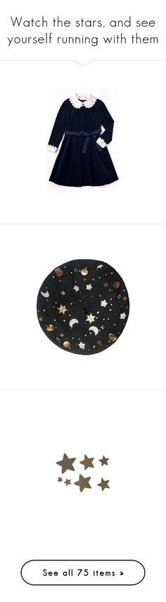 """""""Watch the stars, and see yourself running with them"""" by henry-winter ❤ liked on Polyvore featuring dresses, blue dress, hats, fillers, backgrounds, accessories, circle, circular, round and stars"""