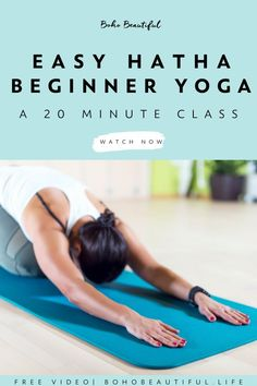 [Yoga Class] This 20 min Easy Beginners Hatha Yoga Class is intended to help you release tension and stress out of your mind and body. Moving through gentle postures, this class is intended for anyone that is looking for a peaceful and relaxing way to end or start their day with Sun Salutations. Click to watch the FREE beginners yoga class at Boho Beautiful #yoga #beginneryoga #health #exercise