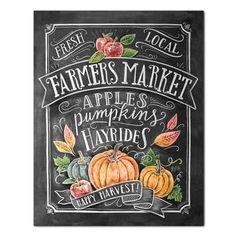 Fall Art - Farmer's Market - Fall Decor - Fall Print - Pumpkin Art - Fall Farmer's Market - Fall Print - Chalkboard Illustration - Chalk Art - Welcome! Chalkboard Lettering, Chalkboard Designs, Fall Chalkboard Art, Chalkboard Drawings, Chalkboard Ideas, Halloween Chalkboard Art, Chalkboard Printable, Free Printable, Typographie Logo