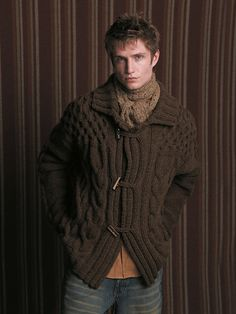 Now in the Ravelry Rowan online pattern store: Quinn pattern by Marie Wallin Knit Jacket, Knit Cardigan, Cable Sweater, Men Sweater, Gilet Crochet, Hand Knitted Sweaters, Mens Fashion Suits, Knitting Designs, Knitting Patterns