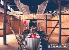 Vintage circus wedding centerpiece and table scape, night circus wedding centerpiece and table scape, Barn Wedding centerpiece and table scape, Rustic Wedding centerpiece and table scape, fun with parasols, funky linens, Photo by BG Productions.