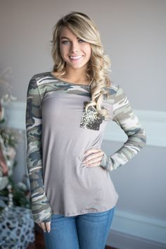 Camo Sparkle Top ~ Mocha – The Pulse Boutique