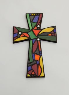 "Large Mosaic Wall Cross, Abstract Floral Design, ""Tropical Garden"", Multicolored/Bright Handmade Stained Glass Mosaic 15"" x 10"" by GreenBananaMosaicCo"
