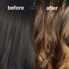 Before and after balayage highlights on brown hair #STLStylistGrace