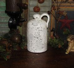 Primitive Ancient Vtg Style Shabby French Country Wht Stoneware Chic Jug Crock