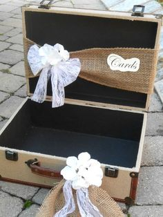 Wedding Card Holder Shabby Chic Burlap Suitcase Wedding Cardholder Card Box | good for a travel themed wedding